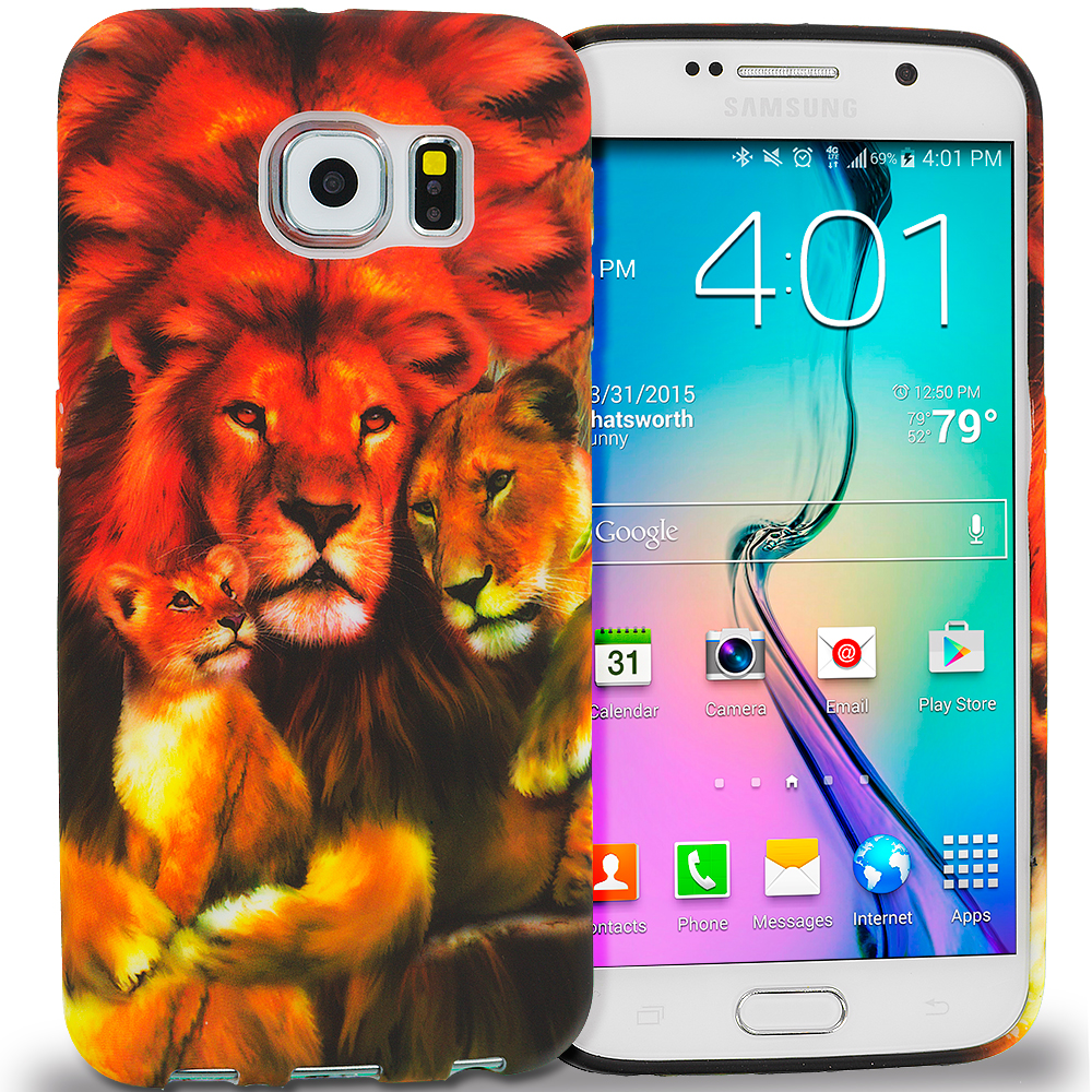 Samsung Galaxy S6 Lion Family TPU Design Soft Rubber Case Cover