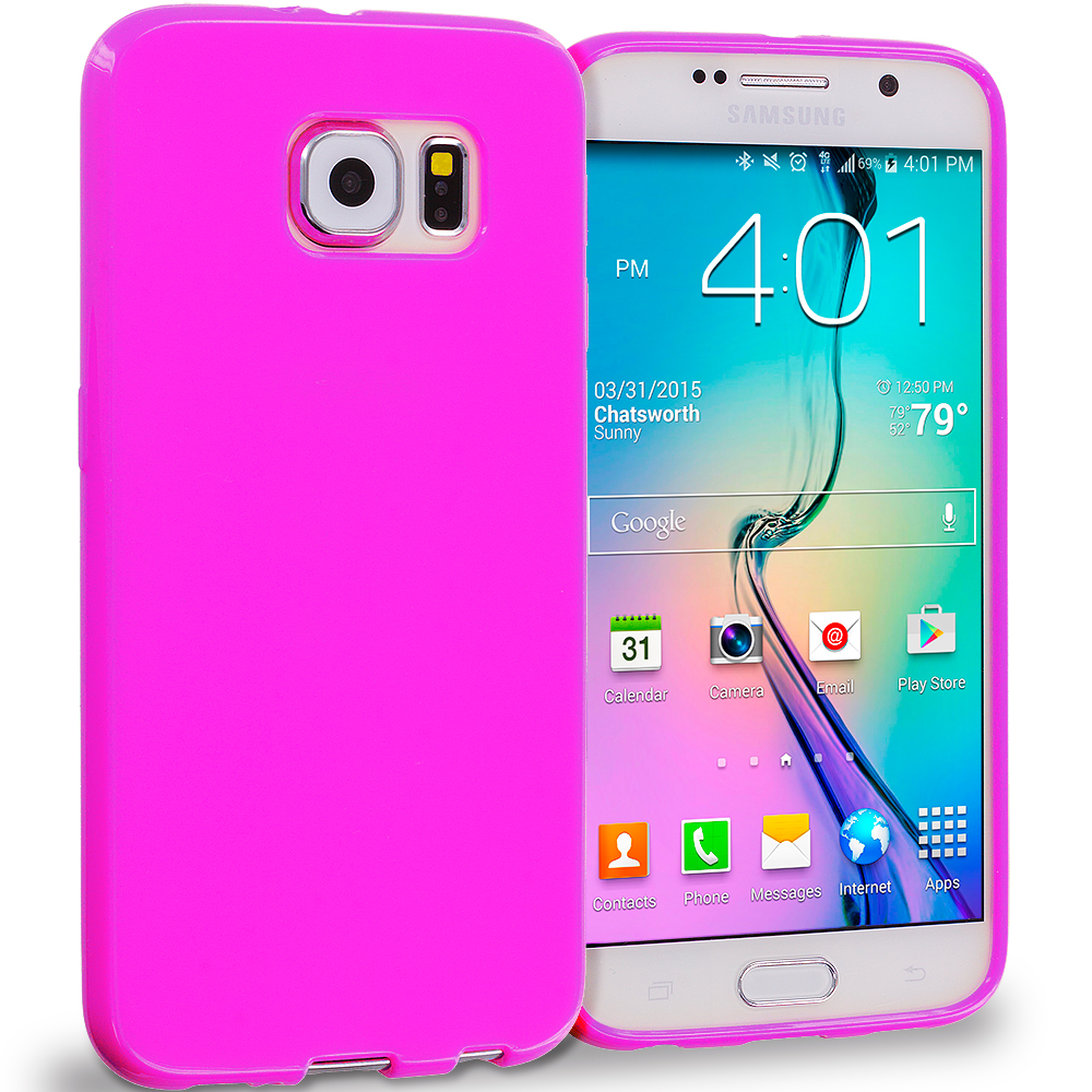 Samsung Galaxy S6 Hot Pink Solid TPU Rubber Skin Case Cover