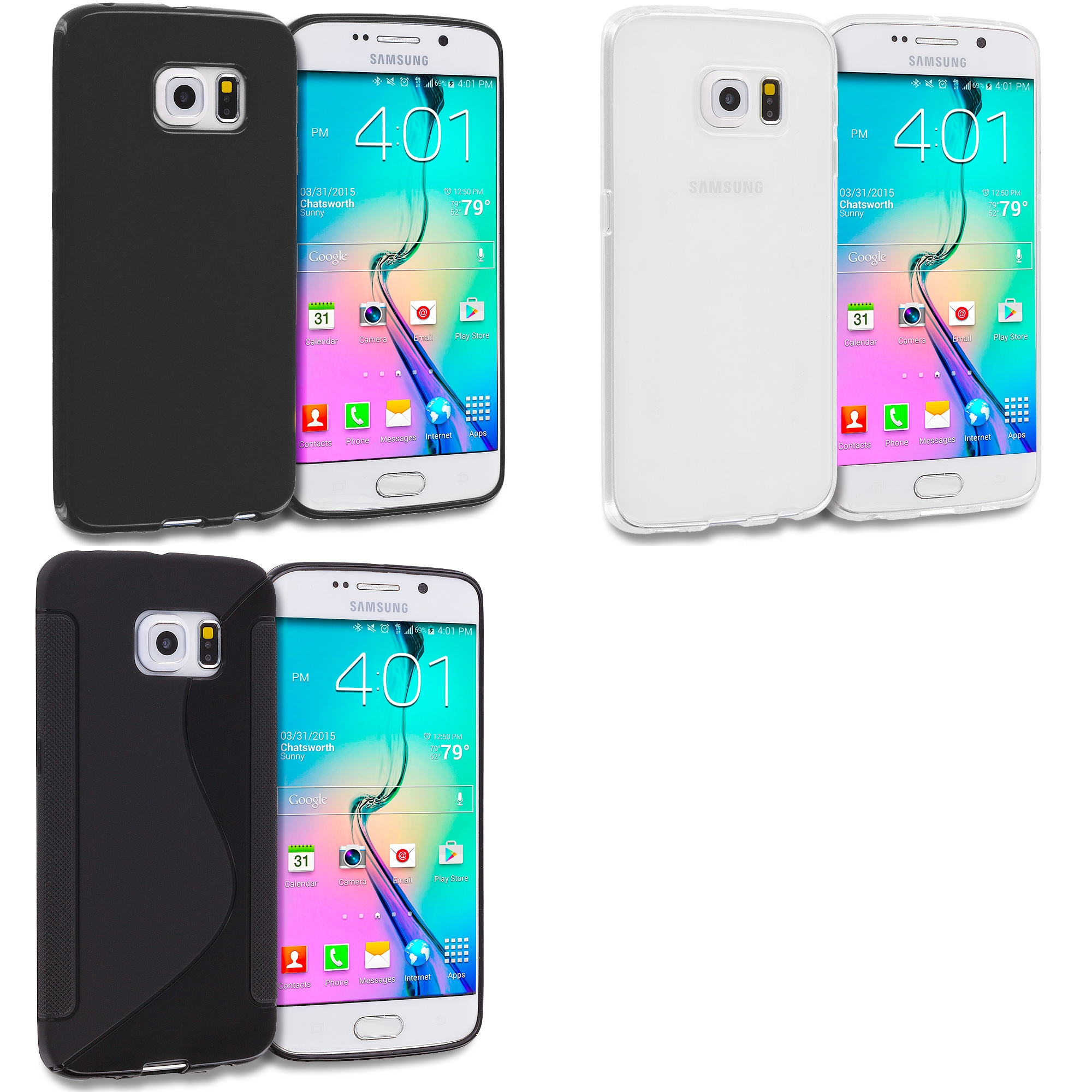 Samsung Galaxy S6 Edge 3 in 1 Combo Bundle Pack - S-Line TPU Rubber Skin Case Cover