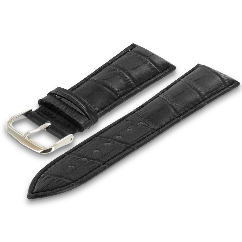 Apple Watch 38mm Black Crocodile Leather Premium Buckle Watch Band Strap