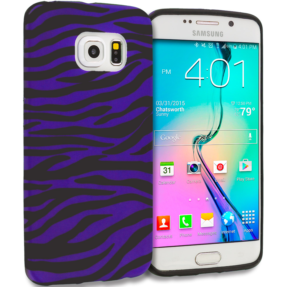 Samsung Galaxy S6 Edge Black / Purple Zebra TPU Design Soft Rubber Case Cover