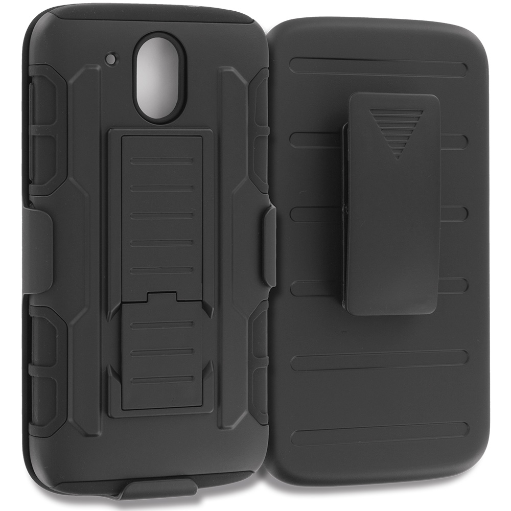 HTC Desire 526 Black Hybrid Rugged Robot Armor Heavy Duty Case Cover with Belt Clip Holster