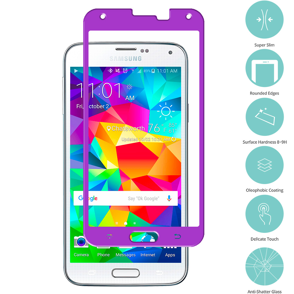 Samsung Galaxy S5 Purple Tempered Glass Film Screen Protector Colored