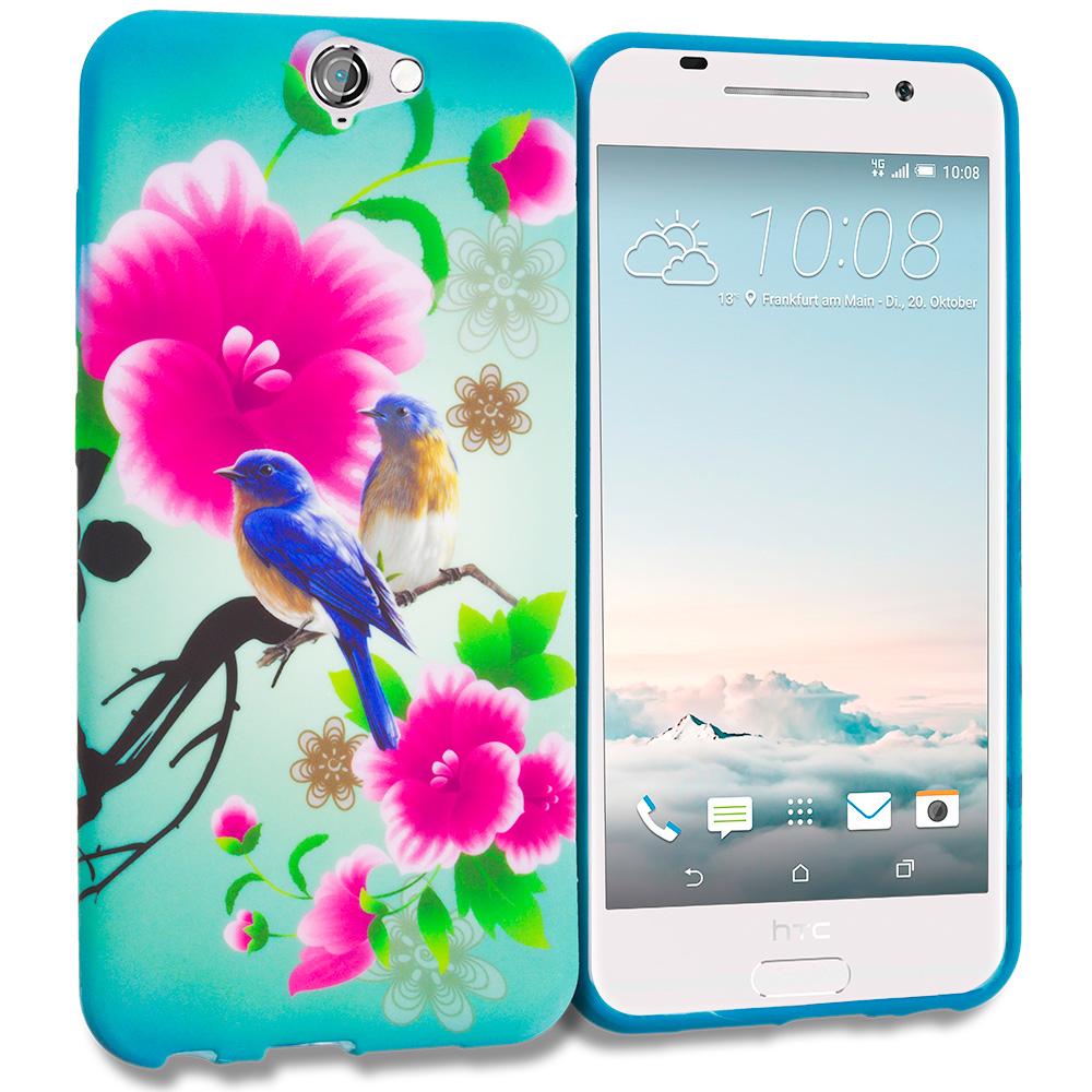 HTC Aero One A9 Blue Bird Pink Flower TPU Design Soft Rubber Case Cover
