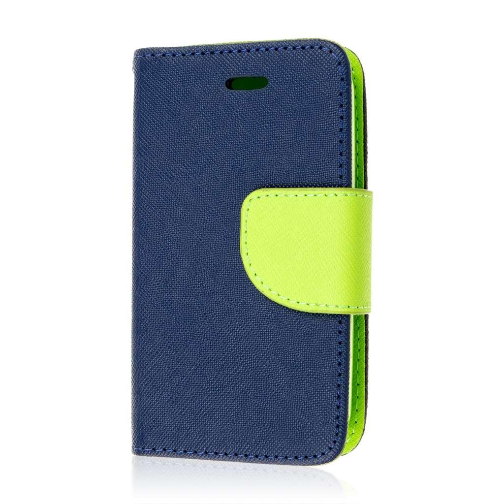 ZTE Prelude 2 - Blue / Neon Green MPERO FLEX FLIP 2 Wallet Stand Case Cover