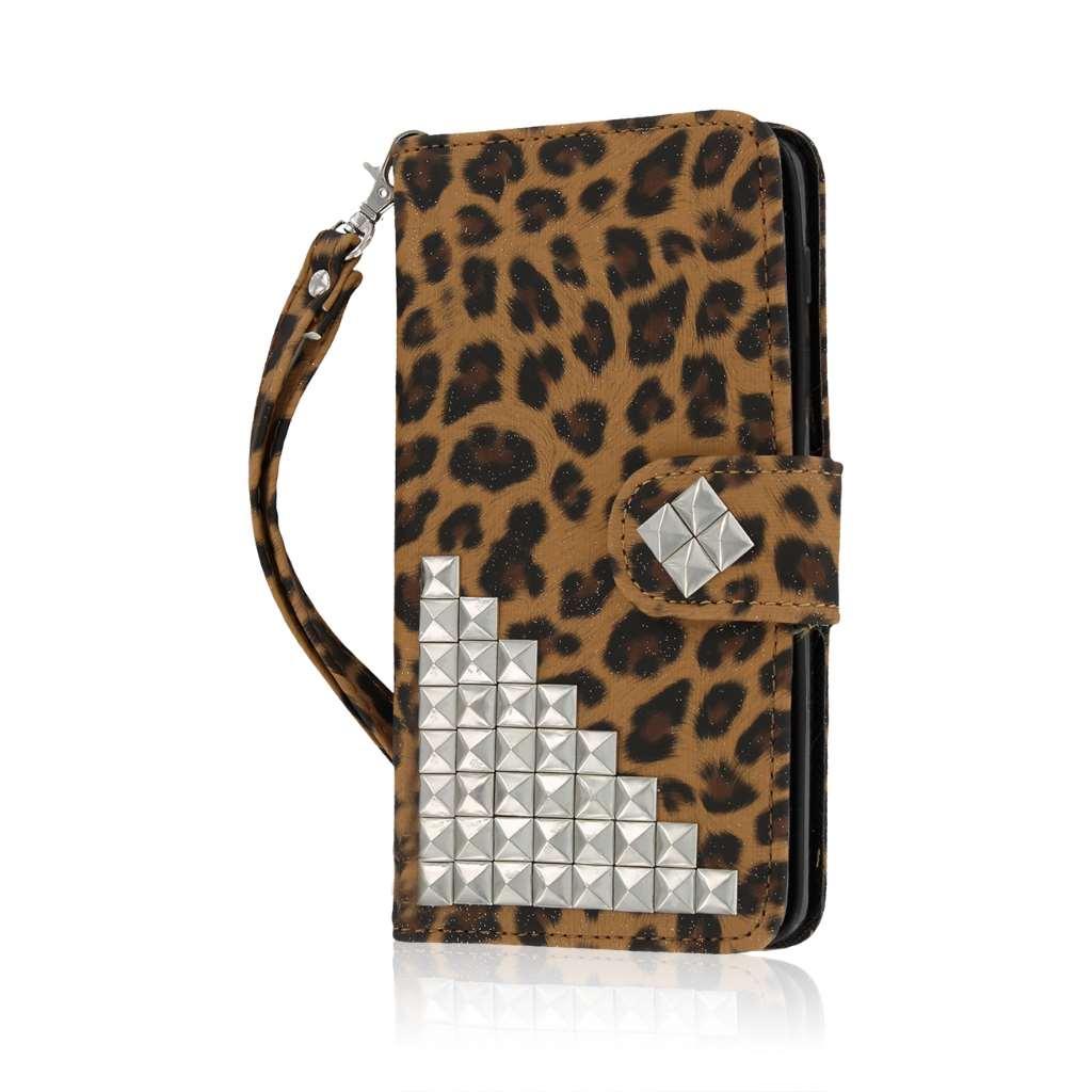 BLU Studio 5.0 S II - Studded Leopard MPERO FLEX FLIP Wallet Case Cover