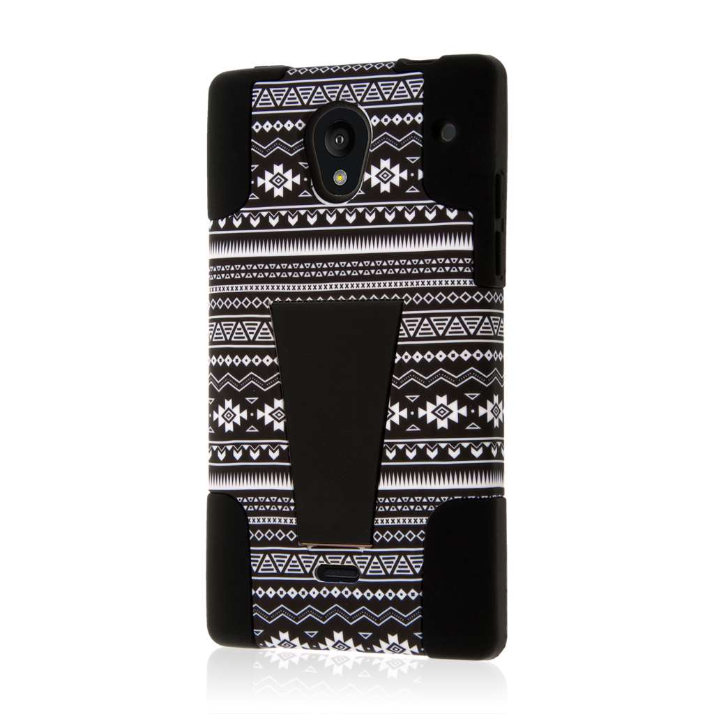 Sharp AQUOS Crystal - Black Aztec MPERO IMPACT X - Kickstand Case Cover