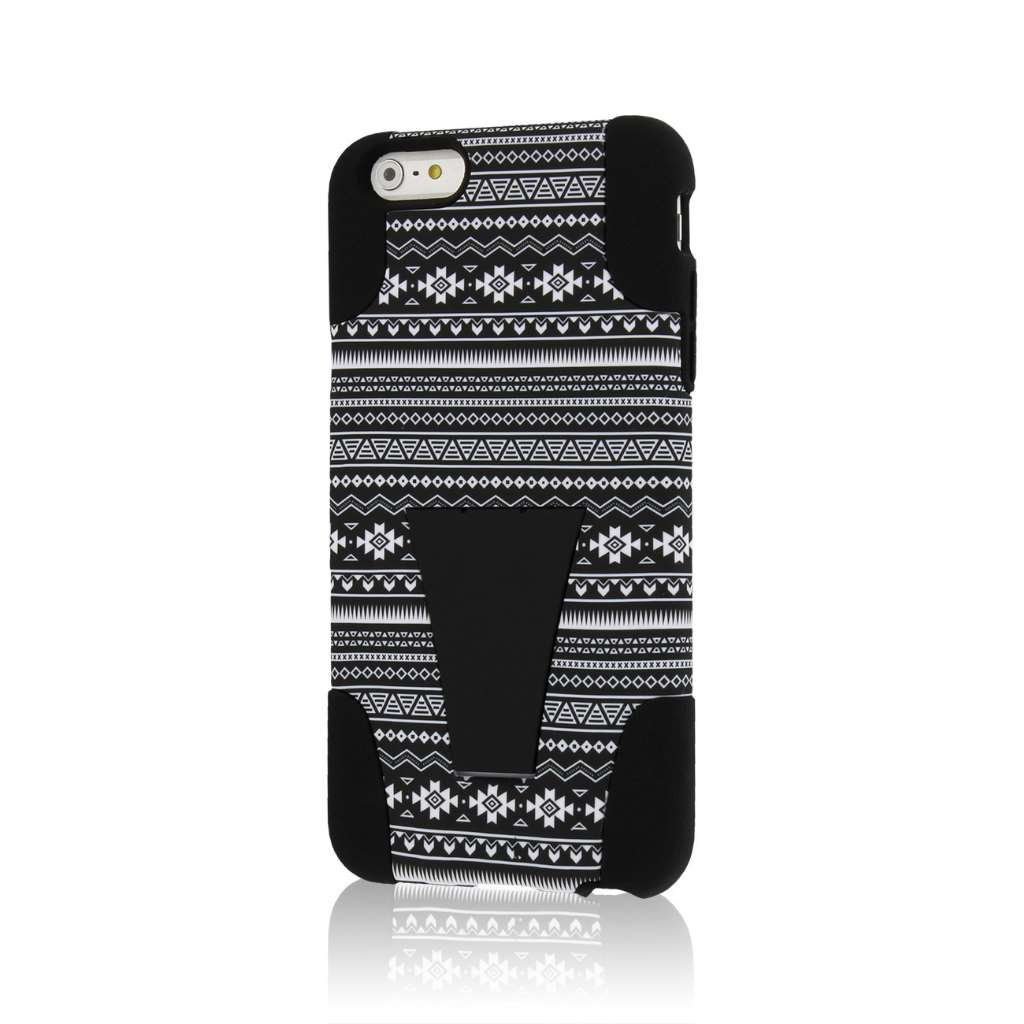 Apple iPhone 6 6S Plus - Black Aztec MPERO IMPACT X - Kickstand Case Cover