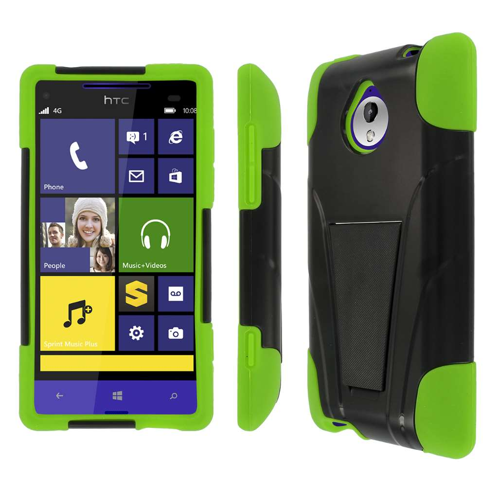 HTC 8XT - Black / Neon Green MPERO IMPACT X - Kickstand Case Cover