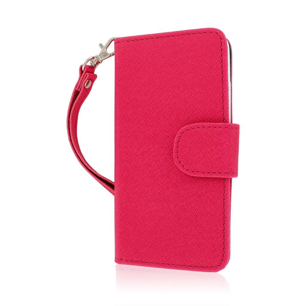 HTC One Mini - Pink-Navy Blue MPERO FLEX FLIP Wallet Case Cover