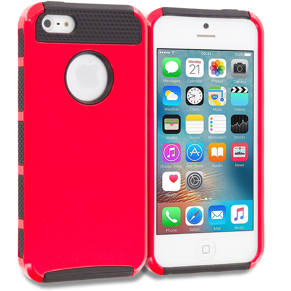 Apple iPhone 5/5S/SE Red / Black Hybrid Hard TPU Honeycomb Rugged Case Cover