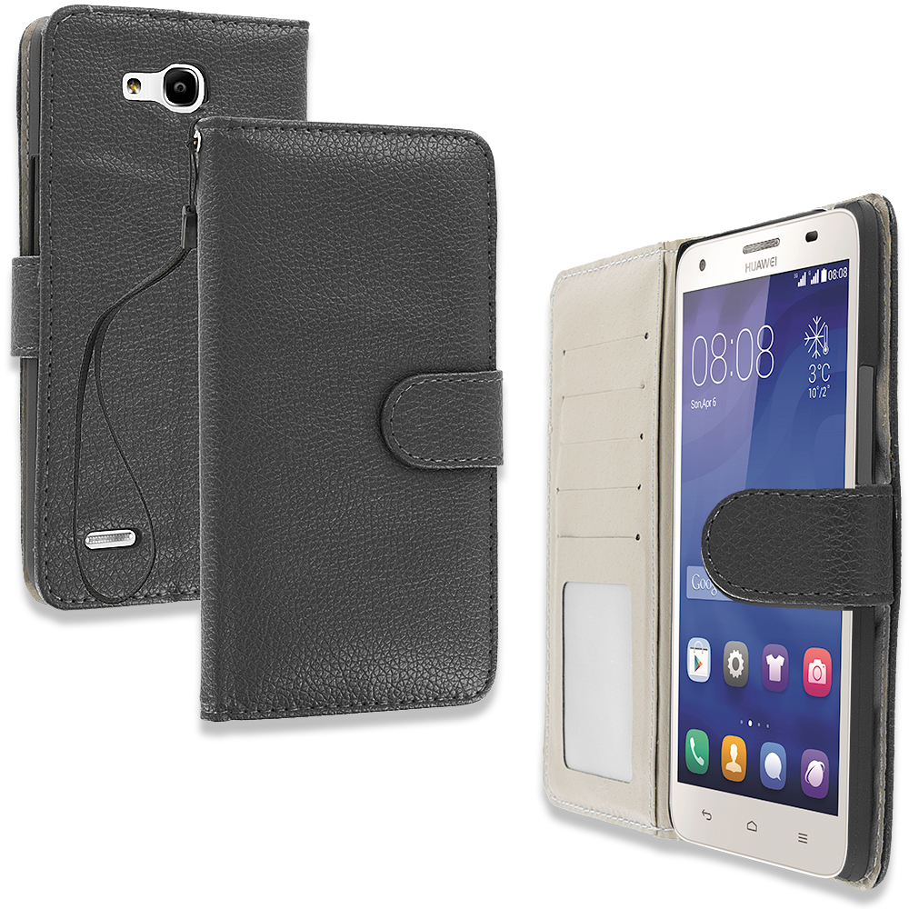 Huawei Honor 3x G750 BLack Leather Wallet Pouch Case Cover with Slots