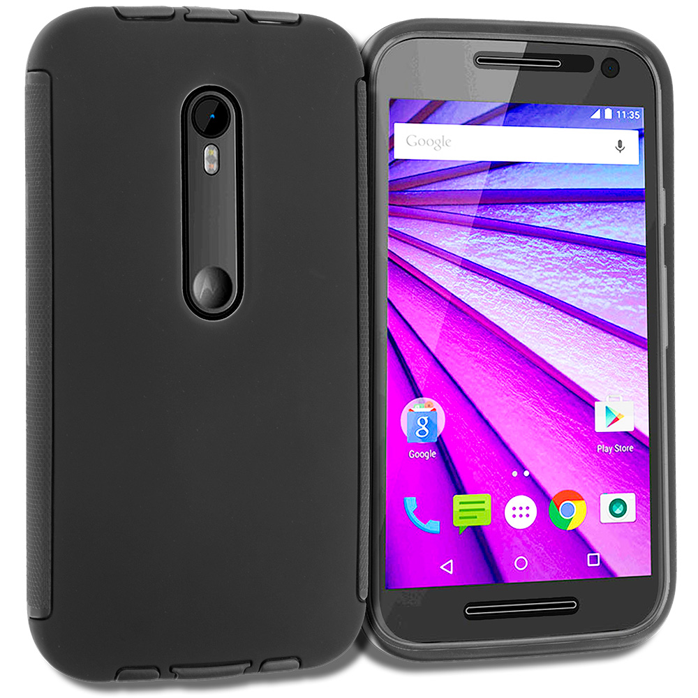 Motorola Moto G 3rd Gen 2015 Black Hybrid Hard TPU Shockproof Case Cover With Built in Screen Protector