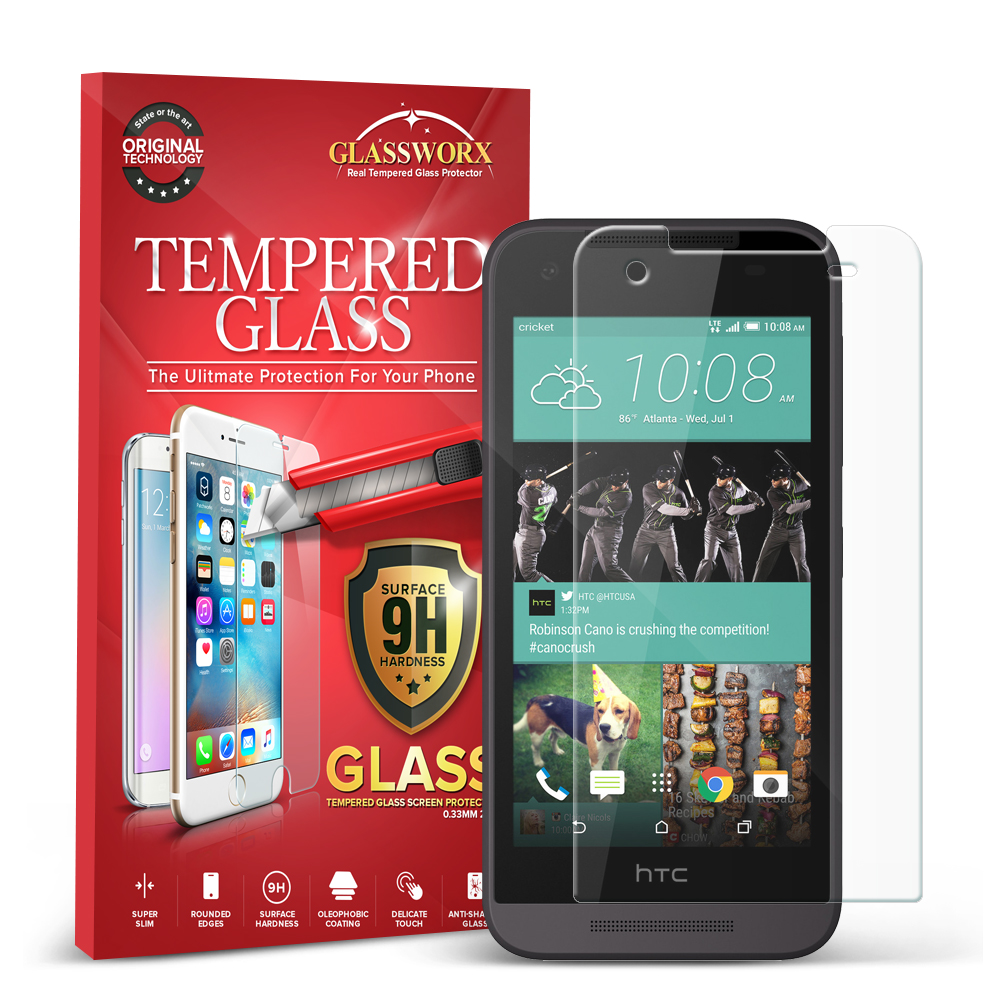 HTC Desire 520 GlassWorX HD Clear Tempered Glass Screen Protector