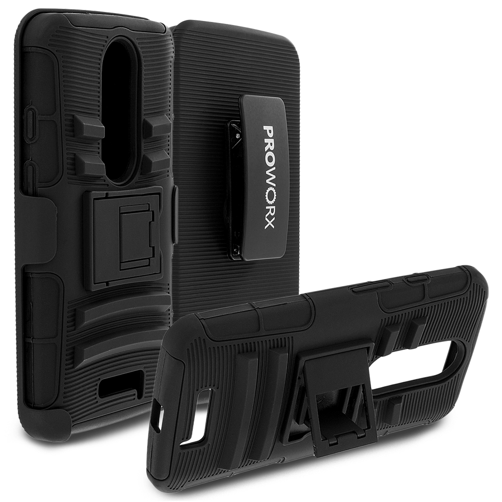 Motorola Droid Turbo 2 ProWorx Black Heavy Duty Shock Absorption Armor Defender Case Cover With Belt Clip Holster