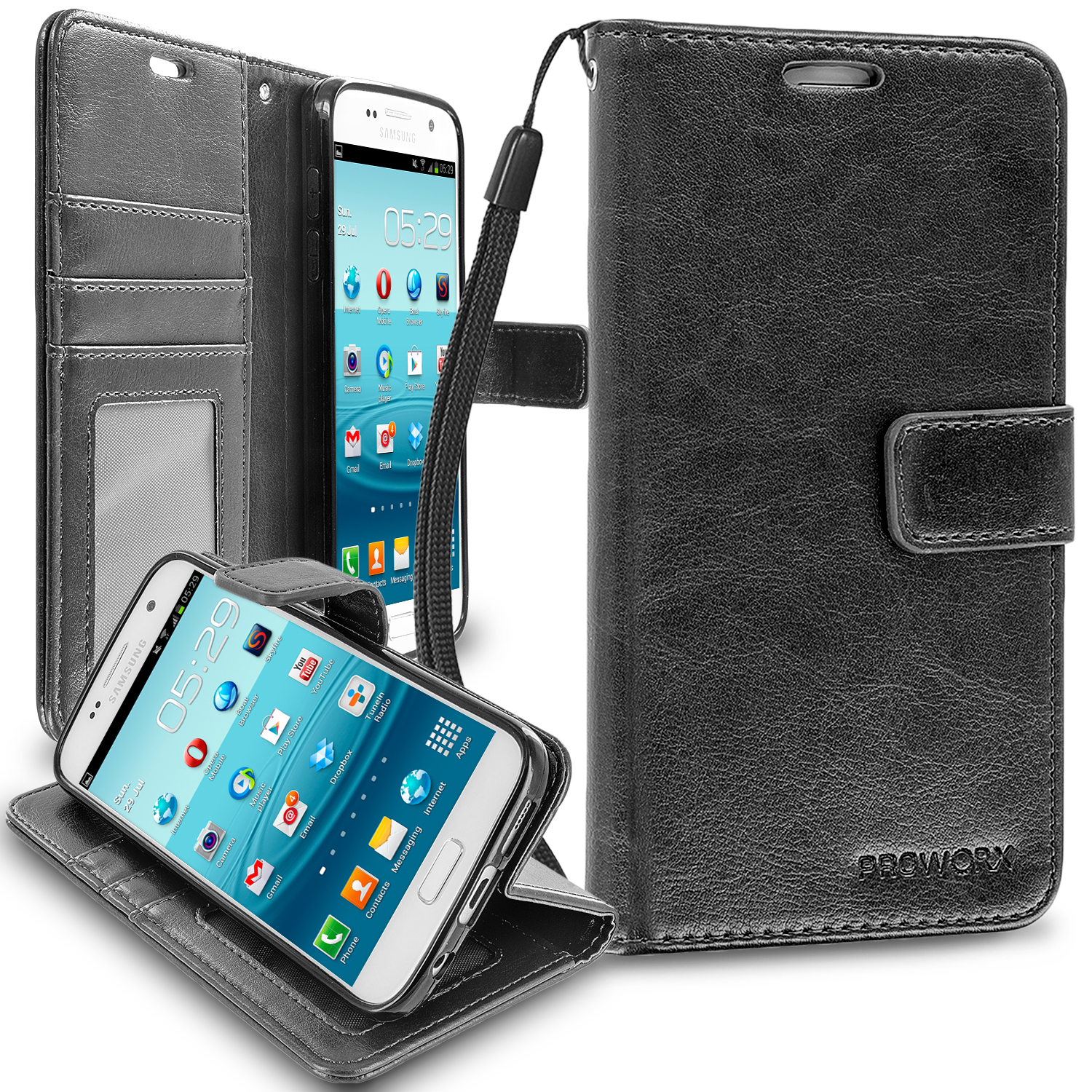 Samsung Galaxy S7 Black ProWorx Wallet Case Luxury PU Leather Case Cover With Card Slots & Stand