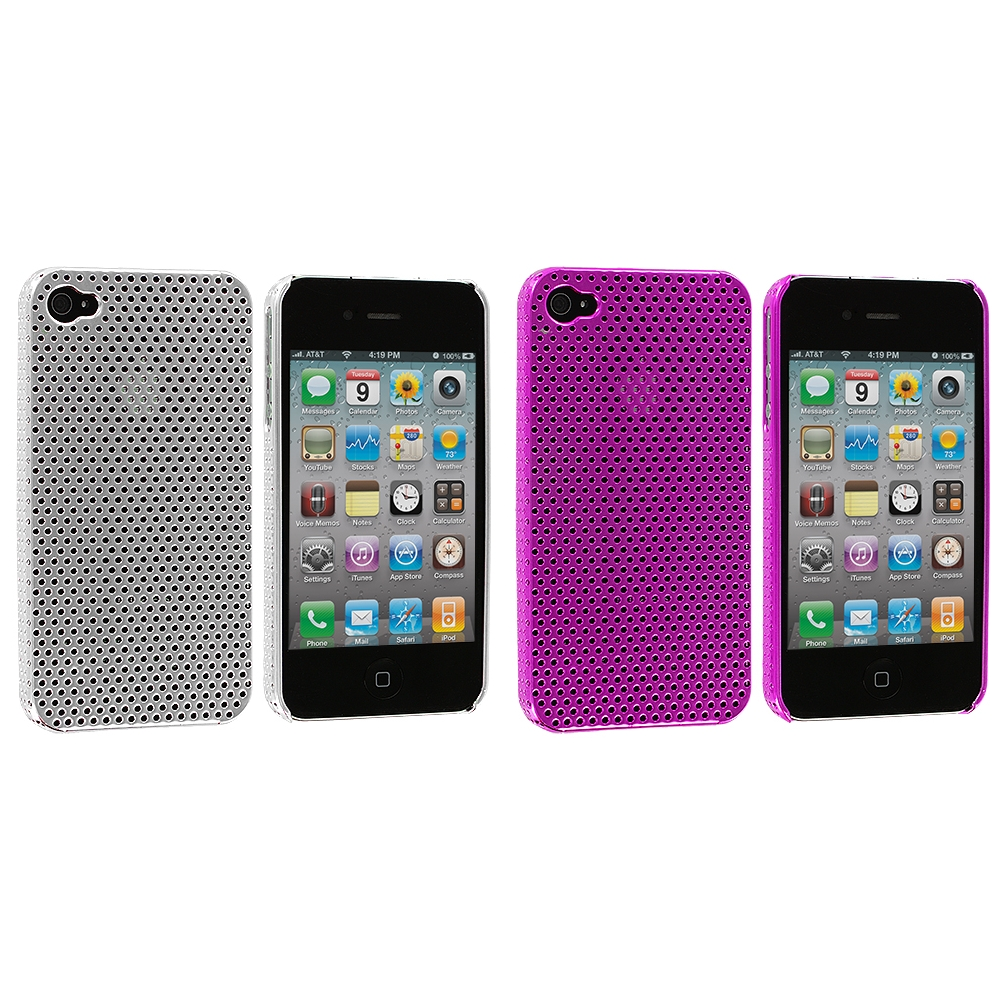 Apple iPhone 4 / 4S 2 in 1 Combo Bundle Pack - Silver Pink Electroplated Mesh Case Cover
