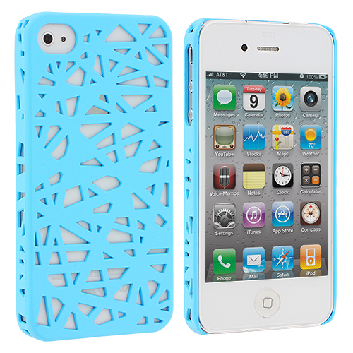 Apple iPhone 4 / 4S Light Blue Birds Nest Hard Rubberized Back Cover Case
