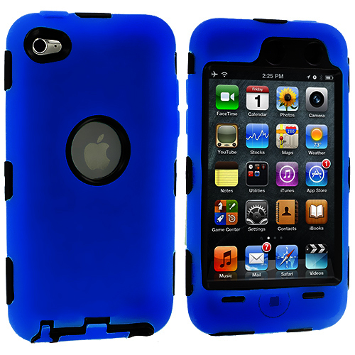 Apple iPod Touch 4th Generation Blue Deluxe Hybrid Deluxe Hard/Soft Case Cover