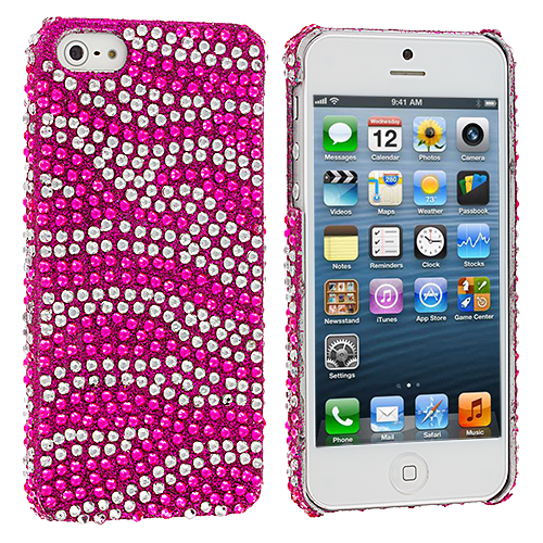 Apple iPhone 5/5S/SE Hot Pink / Silver Zebra Bling Rhinestone Case Cover