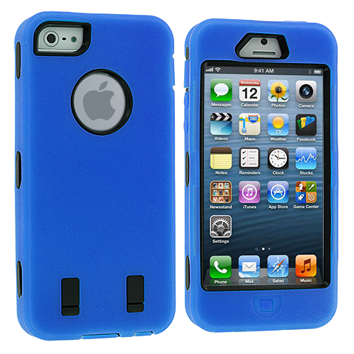 Apple iPhone 5/5S/SE Blue Deluxe Hybrid Deluxe Hard/Soft Case Cover