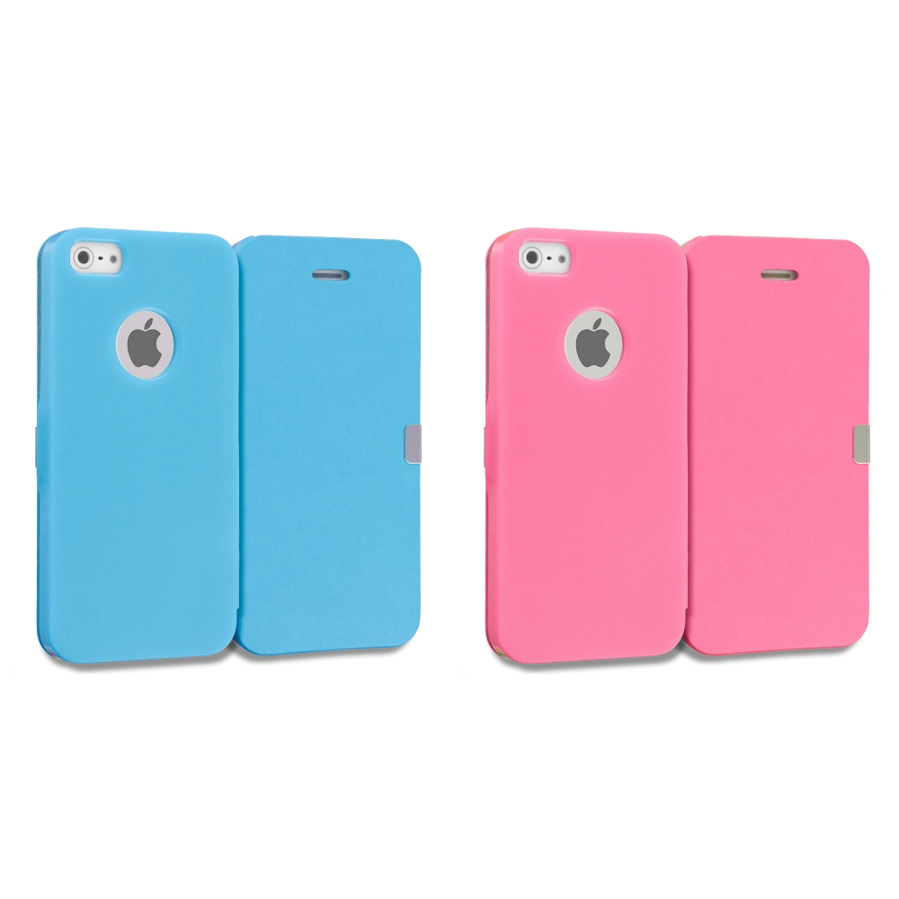Apple iPhone 5/5S/SE 2 in 1 Combo Bundle Pack - Baby Blue Pink Smooth Magnetic Wallet Case Cover Pouch