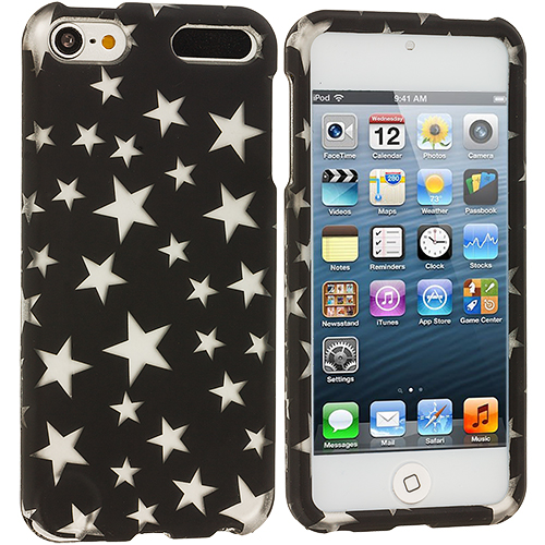 Apple iPod Touch 5th 6th Generation Stars on Black Base Hard Rubberized Design Case Cover