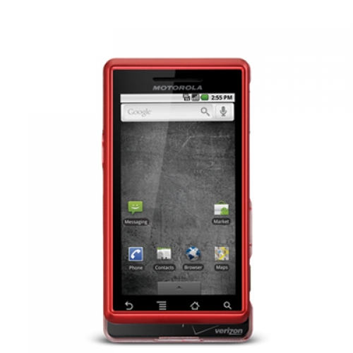 Motorola Droid A855 Red Hard Rubberized Case Cover