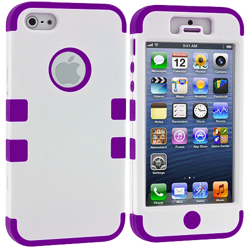 Apple iPhone 5/5S/SE Combo Pack : White / Purple Hybrid Tuff Hard/Soft 3-Piece Case Cover : Color White / Purple