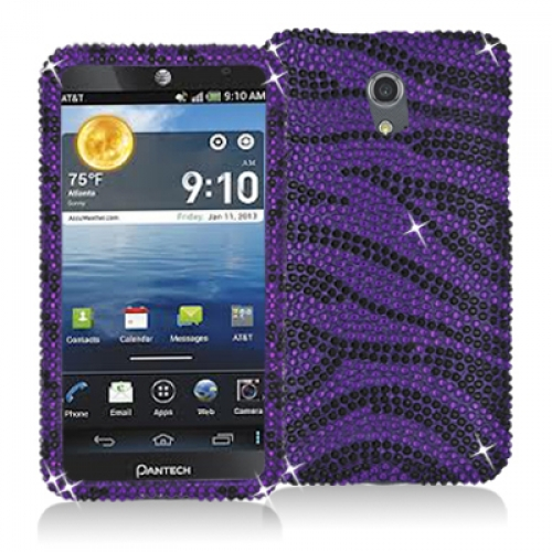 Pantech Discover Black / Purple Zebra Bling Rhinestone Case Cover