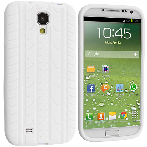 Samsung Galaxy S4 White Tire Tread Silicone Soft Skin Case Cover