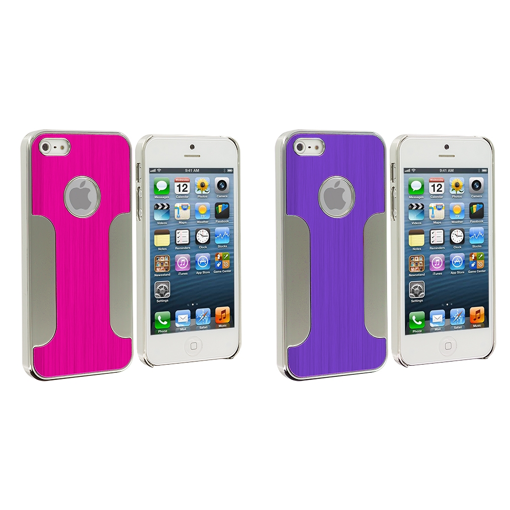 Apple iPhone 5/5S/SE 2 in 1 Combo Bundle Pack - Hot Pink Purple Brushed Metal Aluminum Metal Hard Case Cover