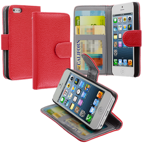 Apple iPhone 5/5S/SE Red Texture Leather Wallet Pouch Case Cover with Slots