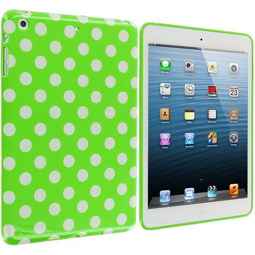 Apple iPad Mini Neon Green / White TPU Polka Dot Skin Case Cover