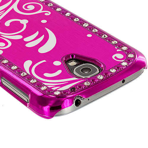 Samsung Galaxy S4 2 in 1 Combo Bundle Pack - Black Pink Diamond Luxury Flower Case Cover : Color Hot Pink