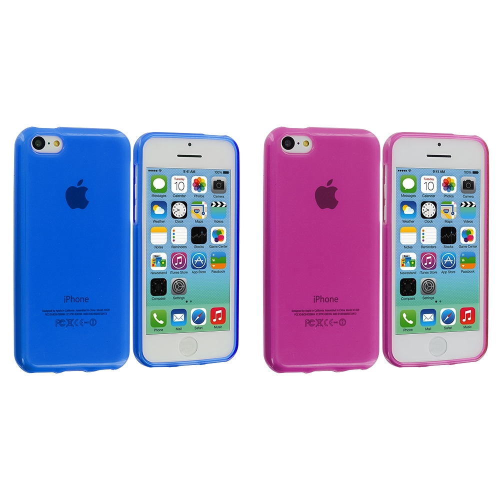 Apple iPhone 5C 2 in 1 Combo Bundle Pack - Hot Pink Blue TPU Rubber Skin Case Cover