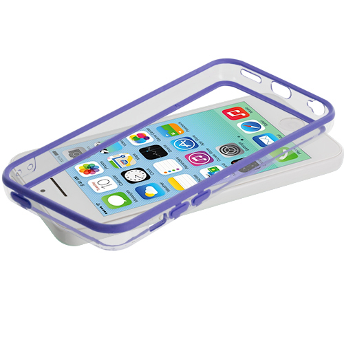 Apple iPhone 5C Purple / Clear TPU Bumper with Metal Buttons