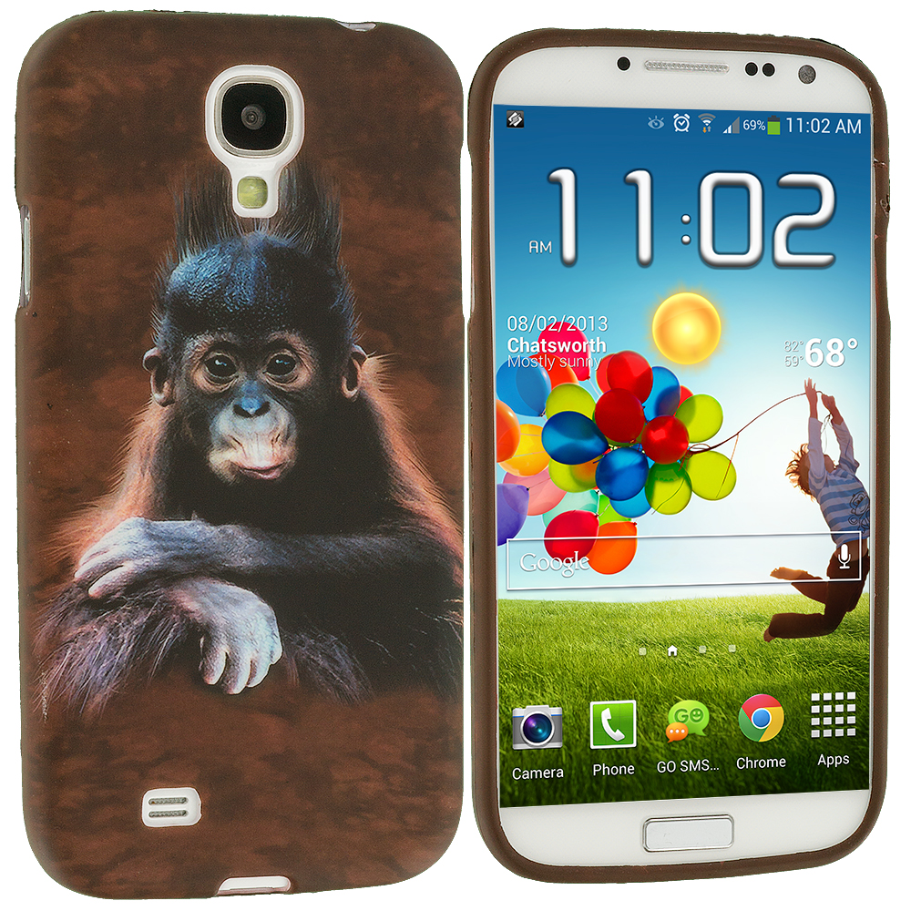 Samsung Galaxy S4 4 in 1 Combo Bundle Pack - Animals TPU Design Soft Case Cover : Color Monkey
