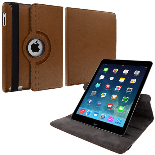 Apple iPad Air Brown 360 Rotating Leather Pouch Case Cover Stand