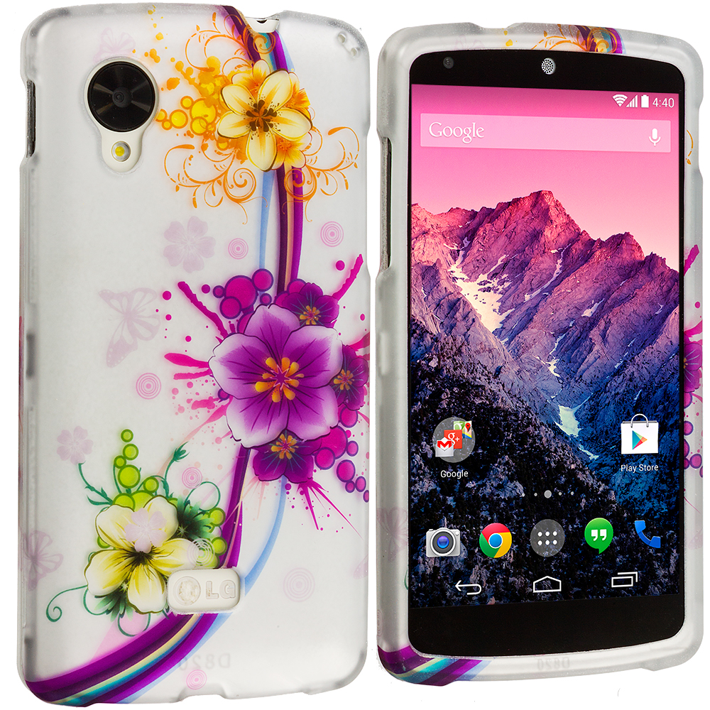 LG Google Nexus 5 Purple Flower Chain Hard Rubberized Design Case Cover