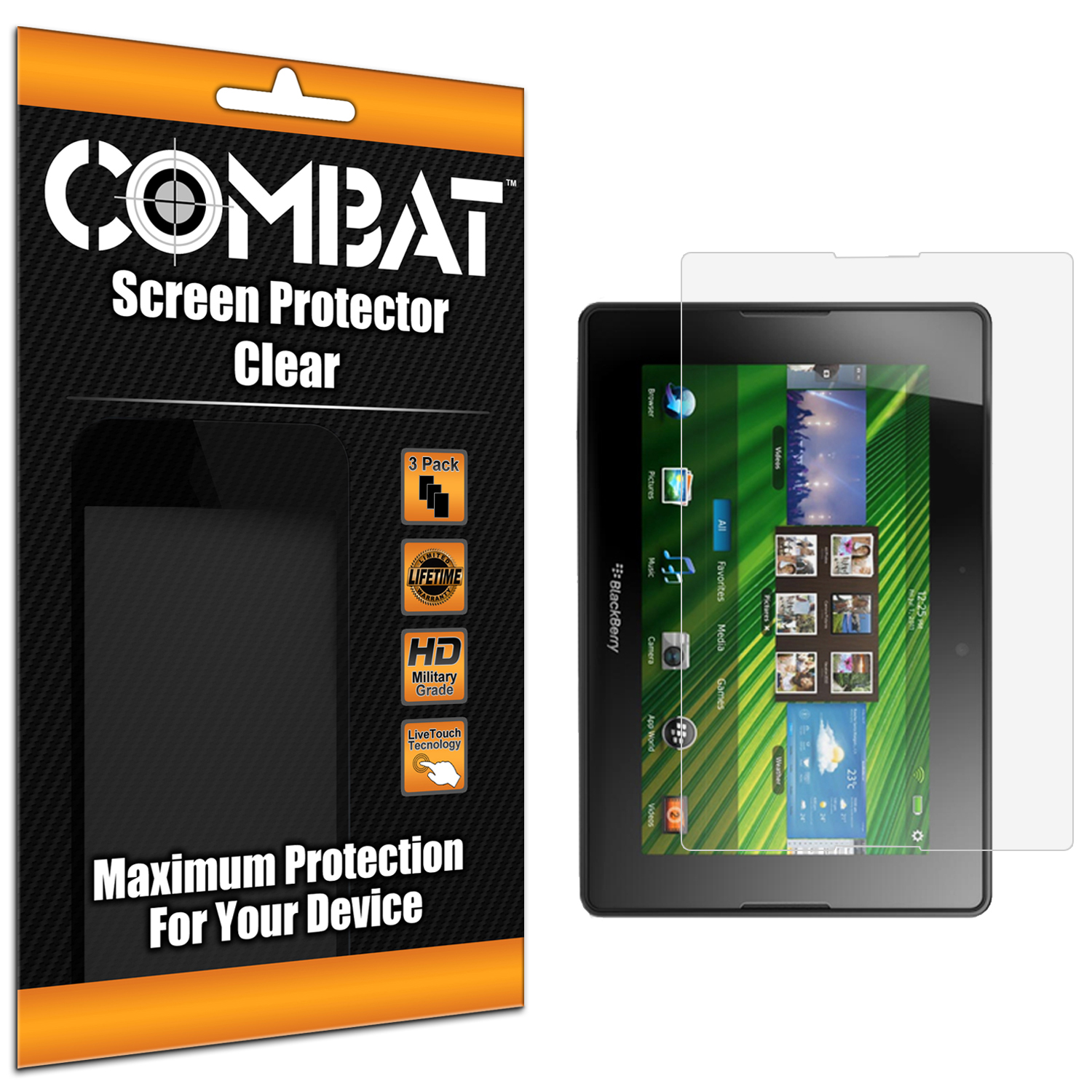 Blackberry Playbook Combat 3 Pack HD Clear Screen Protector