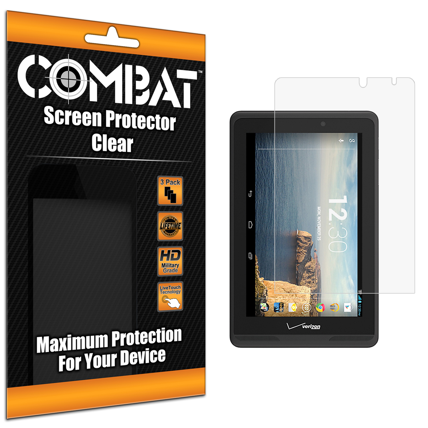 Verizon Wireless Ellipsis 7 Combat 3 Pack HD Clear Screen Protector