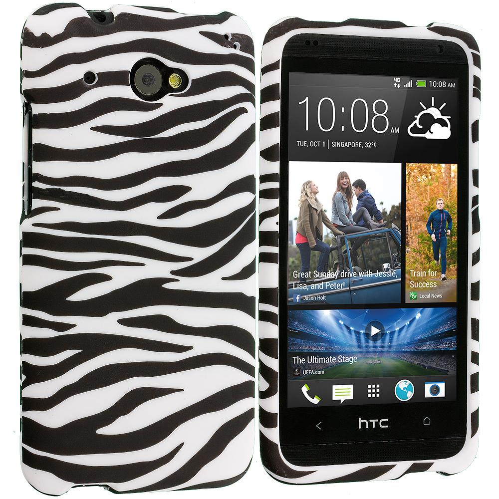 HTC Desire 601 Black/White Zebra Hard Rubberized Design Case Cover