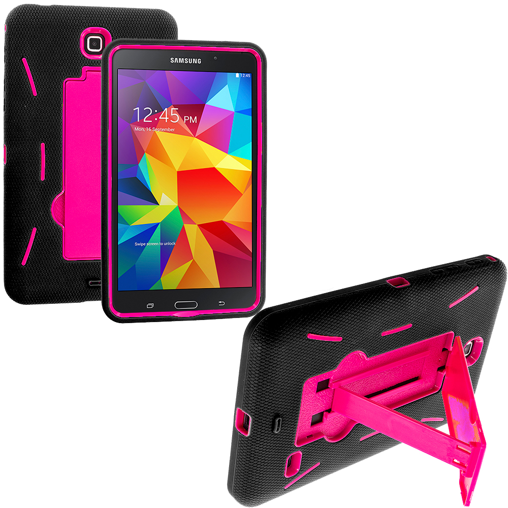 Samsung Galaxy Tab 4 7.0 Black / Hot Pink Hybrid Heavy Duty Hard/Soft Case Cover with Stand