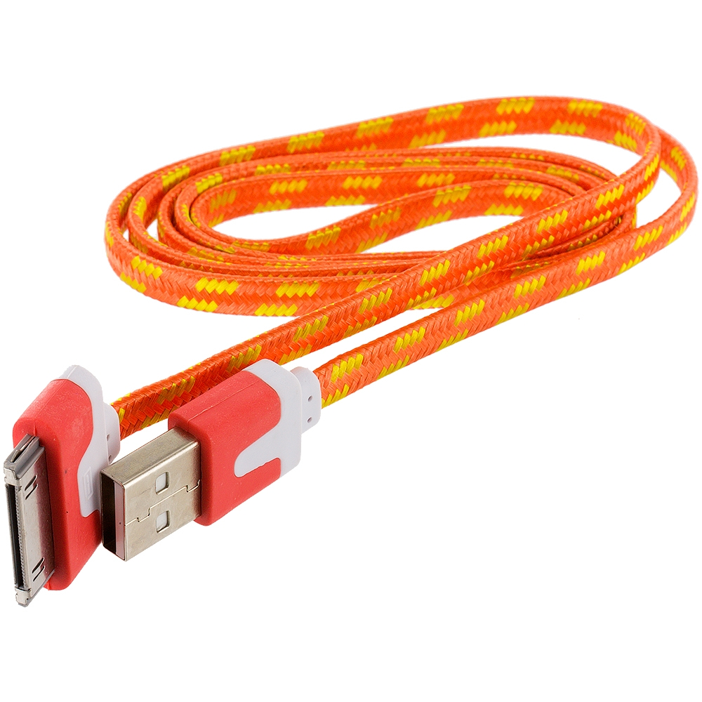 2x Noodle Rope Braided Usb Sync Data Cable Cord 3ft For