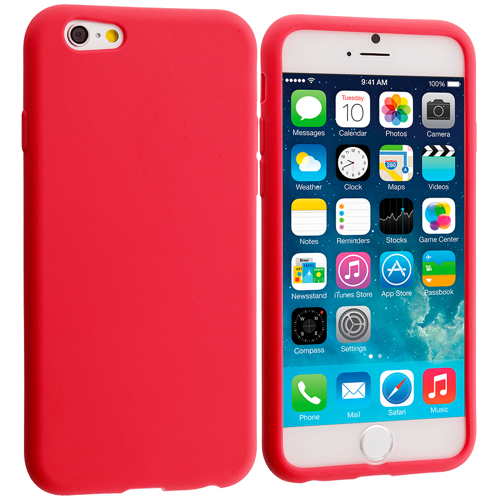 Apple iPhone 6 6S (4.7) 9 in 1 Combo Bundle Pack - Silicone Soft Skin Case Cover : Color Red