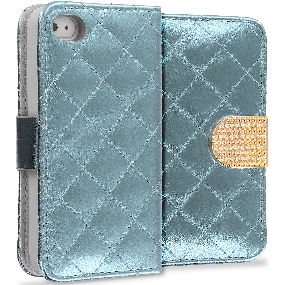 Apple iPhone 4 / 4S White Luxury Wallet Diamond Design Case Cover With Slots