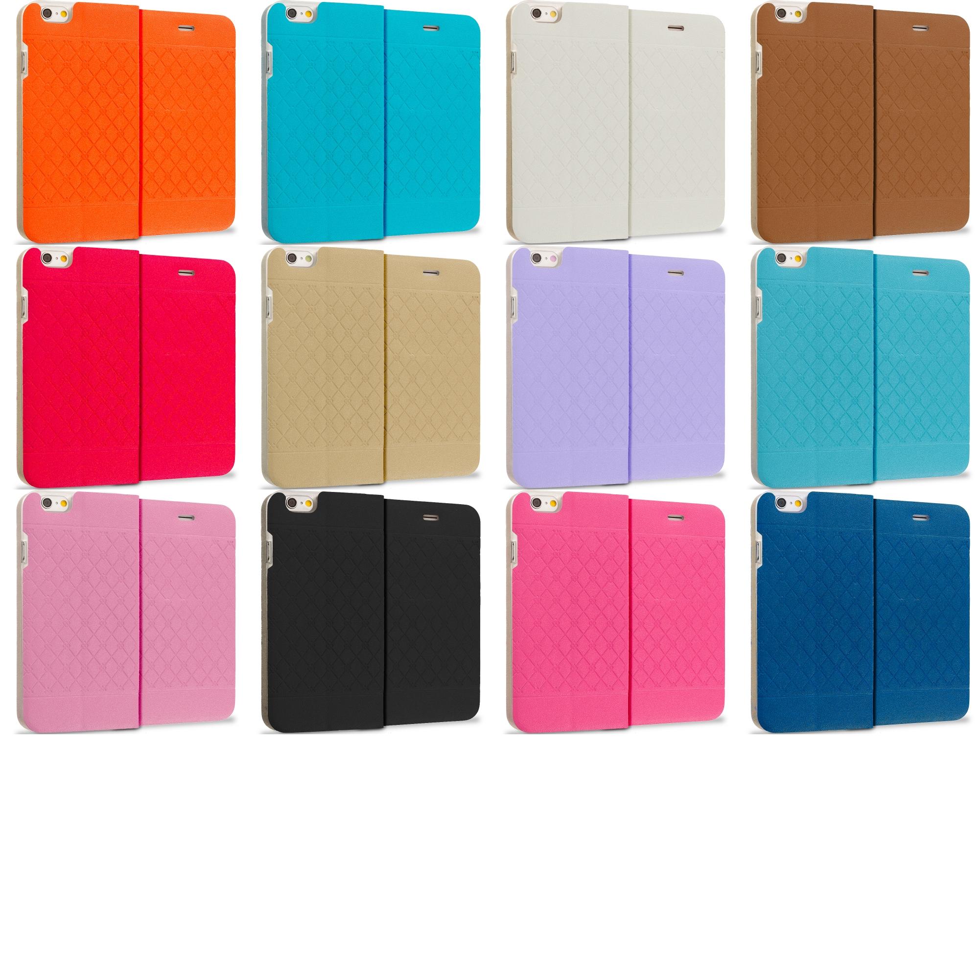 Apple iPhone 6 6S (4.7) 12 in 1 Combo Bundle Pack - Slim Wallet Plaid Luxury Design Flip Case Cover