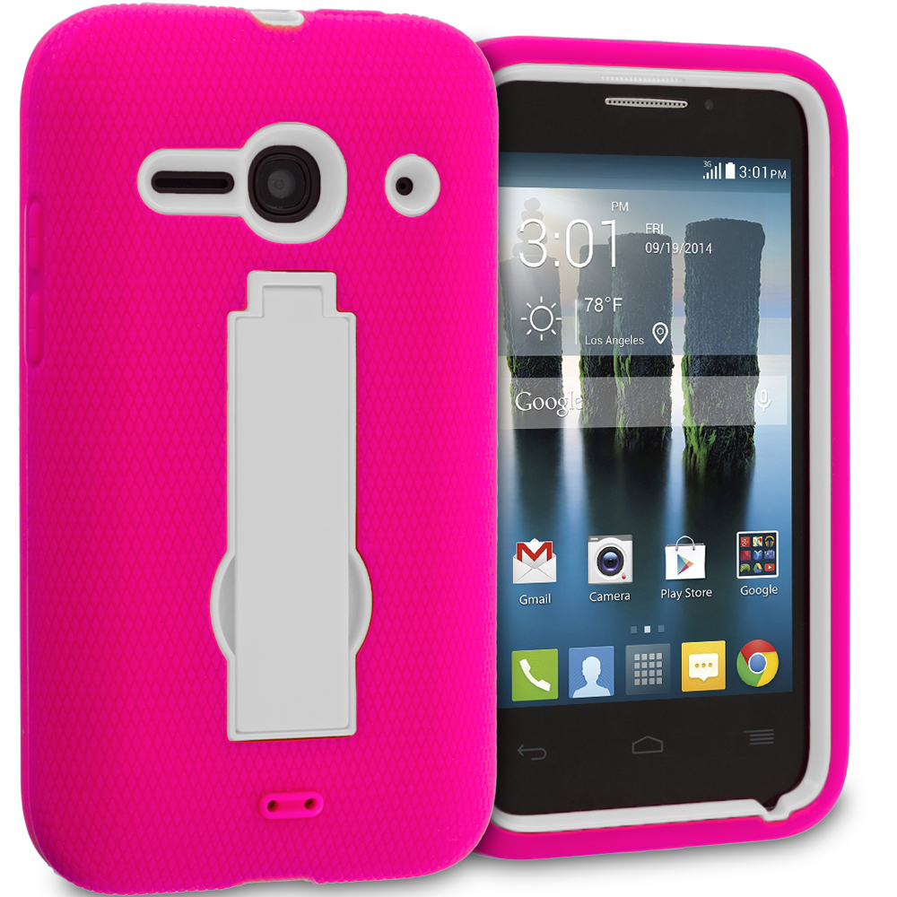 Alcatel One Touch Evolve 2 Hot Pink / White Hybrid Heavy Duty Hard Soft Case Cover with Kickstand