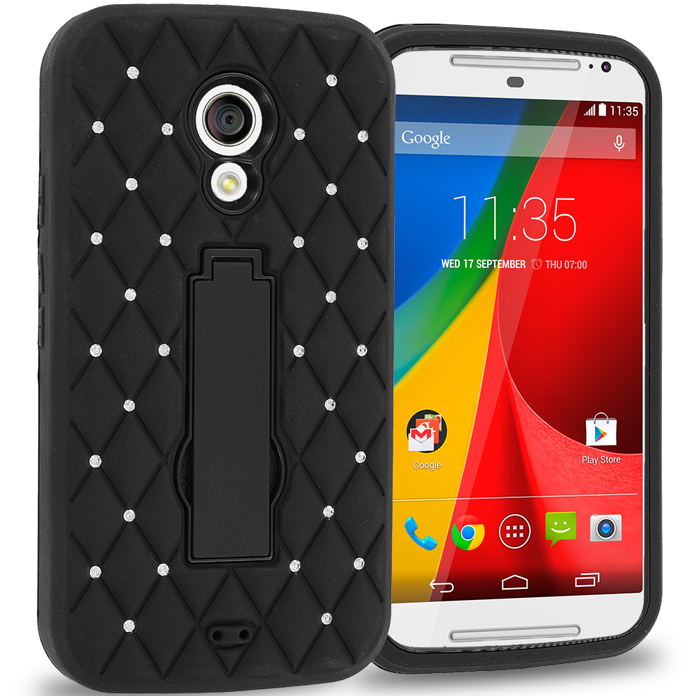 Motorola Moto G 2nd Gen 2014 Black / Black Hybrid Diamond Bling Hard Soft Case Cover with Kickstand